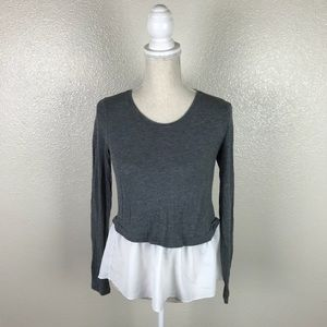 Super Soft Gray Long Sleeve With Ruffle size Small